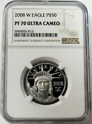2008 W Platinum 50 American Eagle 4020 Minted 1/2 Oz Proof Coin Ngc Pf 70 Uc