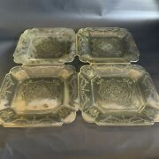 Set Of 4 Federal Glass Square Dinner Plates Yellow Depression Glass