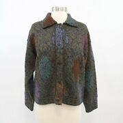 Peruvian Connection Jacket Coat Alpaca S Olive Green Floral Purple Red Buttons