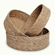 Woven Round Seagrass Basket Tray Set For Home - 3 Decorative Storage Baskets For