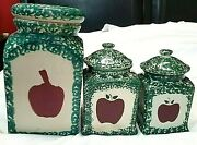 Vintage And Rare Set Of 3 Green Ceramic Kitchen Canisters Red Apples With Covers