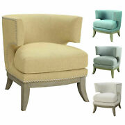 Coaster Home Furnishings Accent Chair With Barrel Back Blue And Weathered Grey