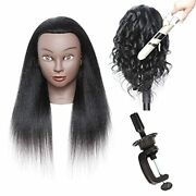 Mannequin Training Head 100 Real Human Hair Afro Hairdresser Cosmetology 16