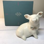 Retired Lenox China Jewels Collection Porcelain Pig Vintage 1992 W/ Teal Box