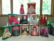 1988-1998 Holiday Barbie Collection Set Of 11 W/ Hallmark Ornaments
