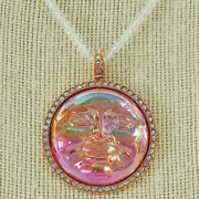 Kirks Folly Pink Seaview Water Moon Pendant W/beaded Iridescent Necklace Rose Gt