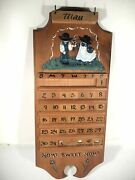 Vintage Wood Perpetual Calendar Wall Hanging Hand Painted Made In Usa