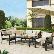 New U_style 4 Piece Ratten Beige+rattan Sofa Seating Group With Cushions Outdoor