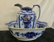 Very Rare 1900 Flow Blue Wash Bowl Basin And Pitcher , Cws F And Sons Empire Burslem