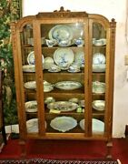 Antique American Tiger Oak Glass Door And 4 Glass Sides China Cabinet Display 1890