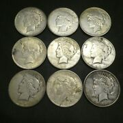 1922 1923 1924 1 Peace Silver Dollar Us Mint Coin Lot Of 9 Coins