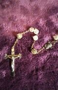 Rare Antique 23 Inch Rosary With Case Oddities Vintage Jesus Crucifix Mary