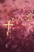 Rare Antique 20 Inch Rosary Oddities Vintage Jesus Crucifix Mary Pope