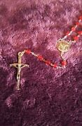 Rare Antique 21 Inch Rosary Red Oddities Vintage Jesus Crucifix Mary Pope