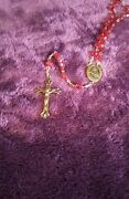 Rare Antique 21inch Rosary Red Oddities Therese Vintage Jesus Crucifix Mary Pope