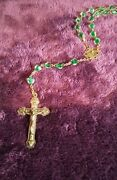 Rare Antique 20 Inch Rosary Green Oddities Vintage Jesus Crucifix Mary Pope