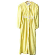 Vintage 70s Yellow Floral Loungees Duster Night House Robe Empire Waist Small