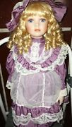 Vintage 1st Impressions Hand Crafted Porcelain Doll 18 - Marie - Stand And Box