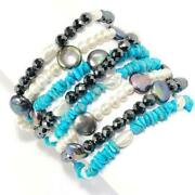 Dallas Collections  Cultured Pearl And Multi Gemstone 8-row Beaded Bracel