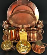 New Vtg Antique Lot All Copper And Copper Plate Tray Salt Pepper Shakers Cup Mug