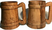 Pair 2 Lathed Turn Wooden Beer Ale Mugs Tankards Decorative Or Seal For Use