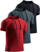 Tsla Menand039s Short Sleeve Pullover Hoodies Dry Fit Running Workout Shirts