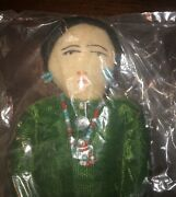 Rare Vintage Doll Made By Native American Indian Tag Velvet Dress Beads Unopened