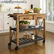 3-tier Wood And Metal Kitchen Cart Storage Shelves Stand Rolling Rack Furniture