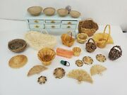 Vtg And Artisan Basket And Hat Lot Wicker Dollhouse Miniature 112 Bread And Laundry