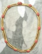 Rare Vintage Christian Dior Gold Plated Double Snake And Gemstone Necklace / Belt
