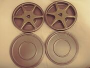 Two Vintage 5 200ft Metal Super 8mm Sherer Movie Reels With Cases