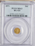 1871 Us Gold 50c Bg-925 Pcgs Ms63 Pop 10 Coins Only