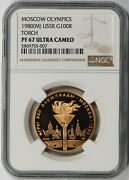 1980 M Ussr Russia Moscow Olympics Torch Gold 100 Roubles Pf 67 Ultra Cam Ngc