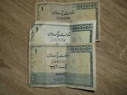 Pakistan 1 Rupeeused Circulated Bank Note Old And Antique Lot Of 3