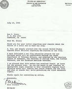Bill Clinton / Clinton Writes I Too Was Deeply Alarmed With The Recent Signed