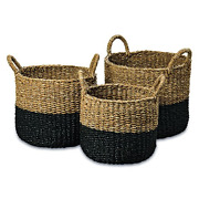 Whw Whole House Worlds Cape Cod Seagrass Baskets, Set Of 3, Paint Dipped, Chunky
