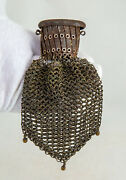 Antique Gate Top Accordion Mesh Purse Change Chatelaine Chainmail Beggars Bag