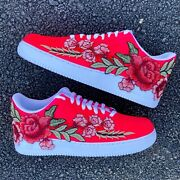 🌹 Nike Air Force 1 07 Low Pink Red Rose Floral White Custom Shoes All Sizes 🌹
