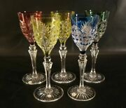 Set Of 5 Vintage Val St Lambert Richepin Cut To Clear Crystal Wine Water Goblet.