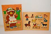 Vintage Fisher Price Wood Children's Puzzles 2yrs-5 Bears And Cubs -farm Animals