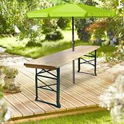 Solid Wood Bar Table Folding Adjustable Outdoor Umbrella Holder Party Bbq Table