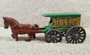 Arcade, Hubley Cast Iron Us. Mail Brown Horse Drawn And Wagon Or Buggy Antique