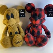Disney X Ae Mickey Mouse American Eagle Special Edition Plush Red Plaid And Brown