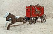 Arcade Hubley Cast Iron Horse's Drawn Lion Circus Carnival Wagon Carriage