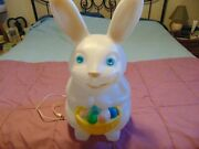 Vintage 22 Empire Easter Lighted Blow Mold Bunny Rabbit W Basket Of Easter Eggs
