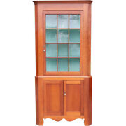 Antique American Chippendale Cherry Pine Painted Corner Cabinet C. 1820