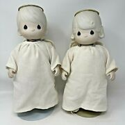 Vintage Set Of Precious Moments Angel Dolls Porcelain Bethany And Aaron 1984