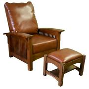 Craftsman Mission Morris Chair And Foot Stool Quarter Sawn White Oak / Leather