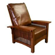 Craftsman Mission Style Morris Chair - Quarter Sawn White Oak / Brown Leather
