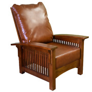 Craftsman Mission Style Morris Chair - Quarter Sawn White Oak / Red Leather